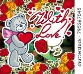 cute teddy bear on a mosaic... | Shutterstock .eps vector #795367045
