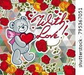 cute teddy bear on a mosaic... | Shutterstock .eps vector #795367051
