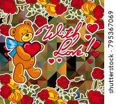 cute teddy bear on a mosaic... | Shutterstock .eps vector #795367069
