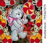 cute teddy bear on a mosaic... | Shutterstock .eps vector #795367075