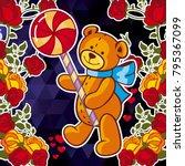 cute teddy bear on a mosaic... | Shutterstock .eps vector #795367099
