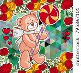 cute teddy bear on a mosaic... | Shutterstock .eps vector #795367105