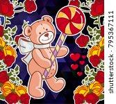 cute teddy bear on a mosaic... | Shutterstock .eps vector #795367111