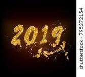 gold sequins 2019. vector | Shutterstock .eps vector #795372154