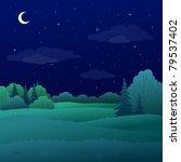 vector  landscape  night summer ... | Shutterstock .eps vector #79537402