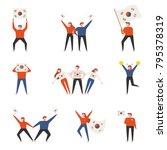 various poses of korean sports... | Shutterstock .eps vector #795378319