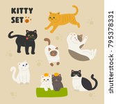 Stock vector cute cat character set of various patterns vector illustration flat design 795378331
