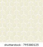 gold hexagonal line seamless... | Shutterstock . vector #795380125