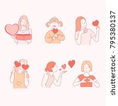 woman characters send love... | Shutterstock .eps vector #795380137