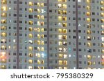 apartment windows at night for... | Shutterstock . vector #795380329