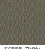 gold hexagonal line seamless... | Shutterstock . vector #795380377