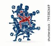 soccer player team composition... | Shutterstock .eps vector #795382669