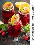 festive summer berry and fruit... | Shutterstock . vector #795386854