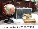 composition on a wooden floor... | Shutterstock . vector #795387451