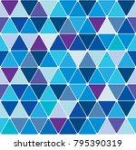 winter blue triangle pattern....   Shutterstock .eps vector #795390319