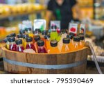 bottles of fresh fruit juice ... | Shutterstock . vector #795390469