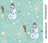 seamless pattern with snowman... | Shutterstock .eps vector #795394537