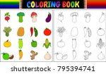 coloring book with fresh...   Shutterstock .eps vector #795394741