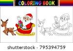 coloring book cartoon santa... | Shutterstock .eps vector #795394759
