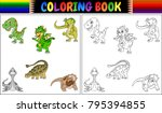 coloring book with dinosaur... | Shutterstock .eps vector #795394855