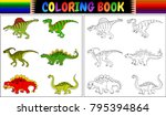 coloring book with dinosaur... | Shutterstock .eps vector #795394864