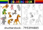 coloring book with wild animals ... | Shutterstock .eps vector #795394885