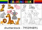 coloring book with wild animals ... | Shutterstock .eps vector #795394891