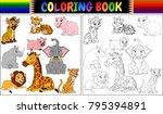 Stock vector coloring book with wild animals cartoon 795394891
