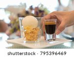 hot coffee with ice cream | Shutterstock . vector #795396469