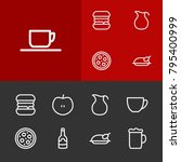nutrition icons set with wine...