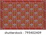 colorful mosaic oriental kilim... | Shutterstock .eps vector #795402409