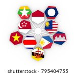 asean   political and economic... | Shutterstock . vector #795404755