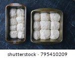 raw dough prepared in the pan... | Shutterstock . vector #795410209