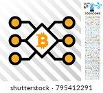 bitcoin pool nodes pictograph... | Shutterstock .eps vector #795412291