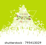 green spring background. sale... | Shutterstock .eps vector #795413029