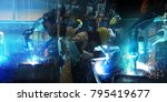 team welding robots represent... | Shutterstock . vector #795419677