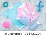 baby clothes concept. blue... | Shutterstock . vector #795421204