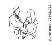 doctor examining heartbeat of...   Shutterstock .eps vector #795421795