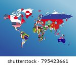 world map geography and nation... | Shutterstock . vector #795423661