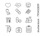 health and wellness icons with... | Shutterstock .eps vector #795432859