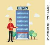 welcome to hotel bellboy...   Shutterstock .eps vector #795433384