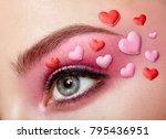 eye make up girl with a heart.... | Shutterstock . vector #795436951