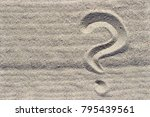 question mark sign on sand beach | Shutterstock . vector #795439561