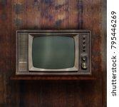 vintage tv on wood shelf... | Shutterstock . vector #795446269
