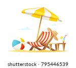 lounger and umbrella on the... | Shutterstock .eps vector #795446539