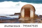 huge waves at the pump house... | Shutterstock . vector #795447535