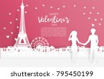 valentine's card with paper cut ... | Shutterstock .eps vector #795450199
