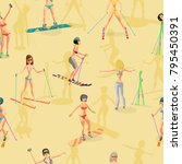 seamless vector textile pattern ... | Shutterstock .eps vector #795450391