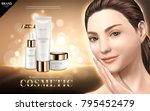 cosmetic skincare ads  moisture ... | Shutterstock .eps vector #795452479