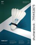 badminton championship poster... | Shutterstock .eps vector #795452875